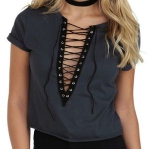 Windsor Grey Lace Up Crop Top